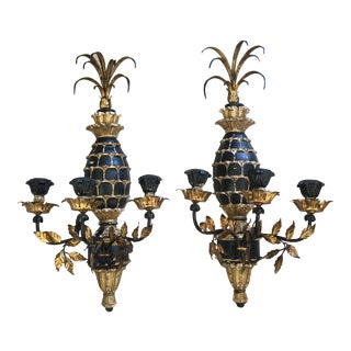 Vintage Italian Giltwood & Tole Pineapple Wall Sconces - a Pair For Sale