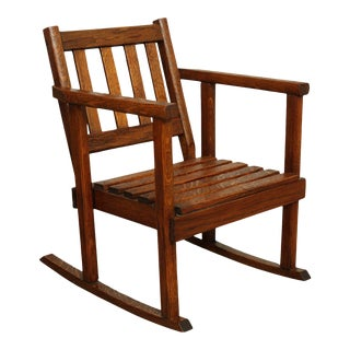 Mission Style Vintage Oak Salesman Sample Rocker For Sale