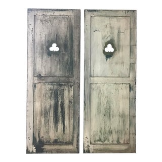 Antique Arts and Crafts Shutters With Shamrock Cutouts - a Pair For Sale