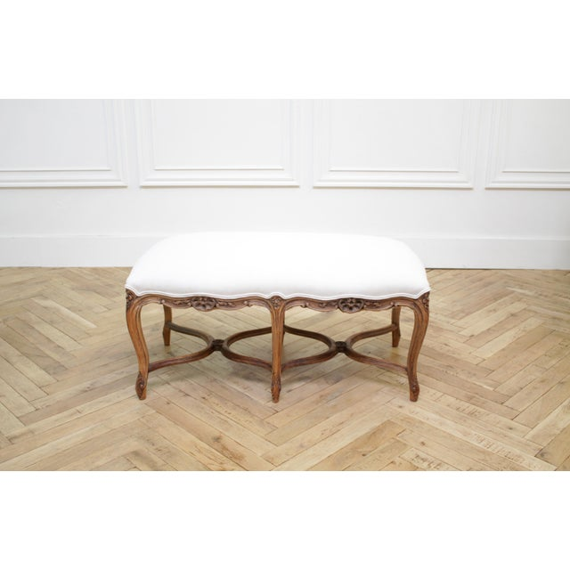 Antique French Louis XV Style Bench Upholstered in Irish Linen SKU Number: 4122-093241 Description: Antique French Louis...