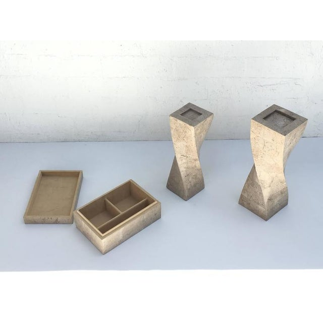 Polished Travertine Box and Candlesticks by Maitland-Smith For Sale - Image 4 of 7
