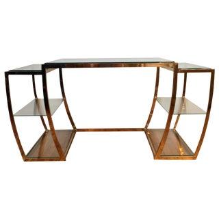 Rare Modernist Brass & Glass Desk or Console Table