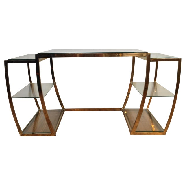Rare Modernist Brass & Glass Desk or Console Table - Image 1 of 8