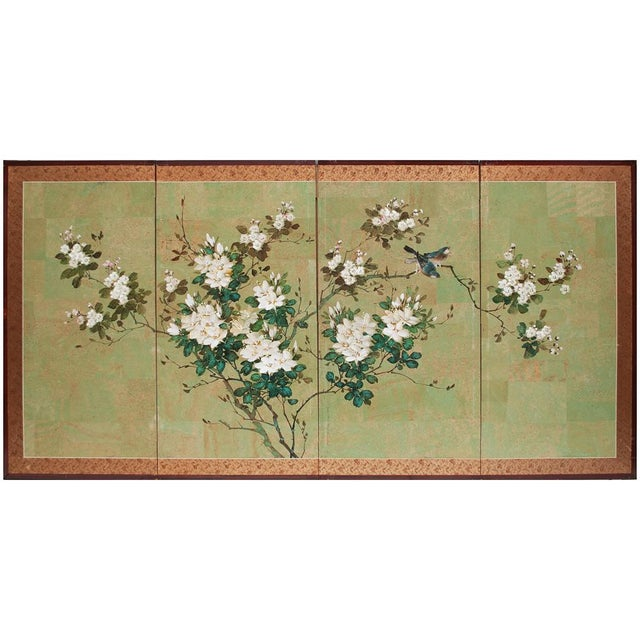 Early 20th Century Japanese Four Panel Byobu Screen For Sale - Image 12 of 13