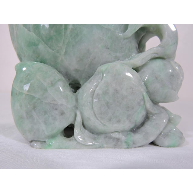 20th Century Chinese Natural Green Jadeite Carving of Peach With Playful Monkeys For Sale - Image 10 of 12