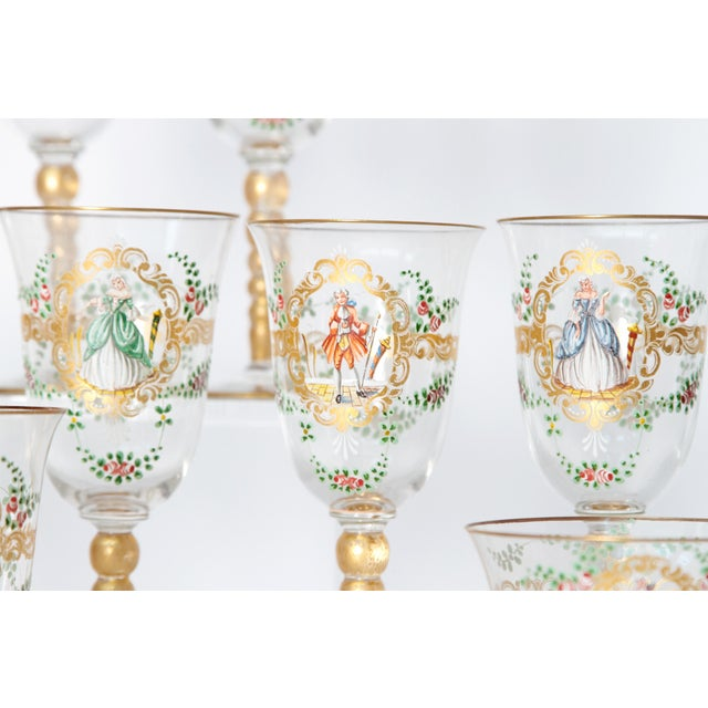 Enameled Venetian Glass Stemware / 23 Piece Group For Sale - Image 10 of 12