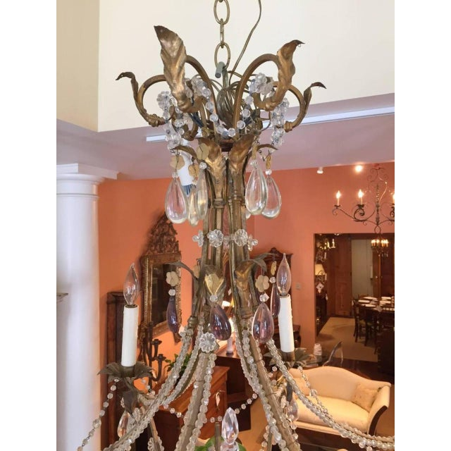 Early 19th Century 19th Century Italian Gilt Iron, Tole and Crystal Chandelier For Sale - Image 5 of 8