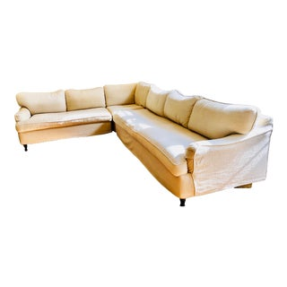 Large Slipcovered Sectional Sofa For Sale
