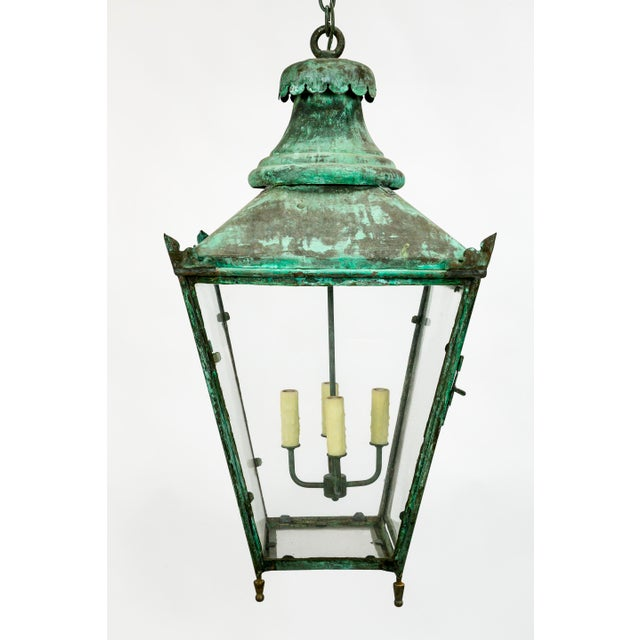 English Traditional Large Green Patina Lantern For Sale - Image 3 of 9