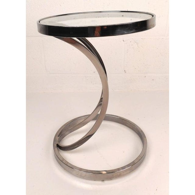 Contemporary Modern Circular Chrome and Glass End Table - Image 3 of 6