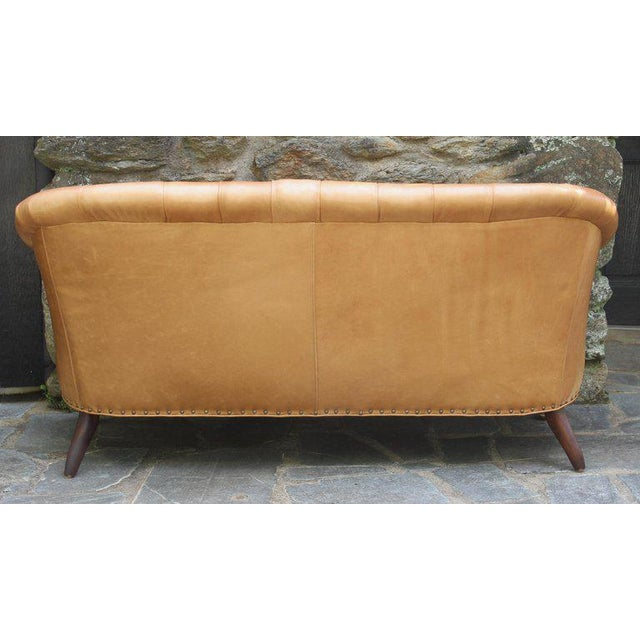 Edwardian Style Buttoned Back Leather Sofa For Sale - Image 4 of 8