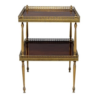 Small Mid Century Brass and Mahogany Side Table For Sale