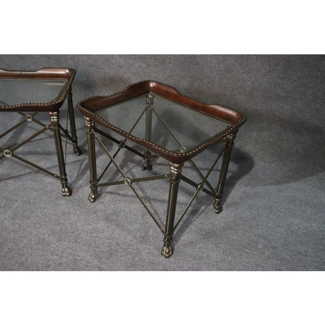 Directoire Style Glass Top End Tables - a Pair For Sale - Image 4 of 10