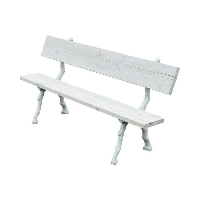 Quality Cast Iron Faux Bois Garden Park Bench For Sale - Image 13 of 13