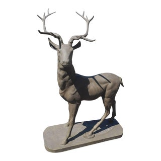 Cast Iron Lifesize Deer Statue With Large Antlers For Sale
