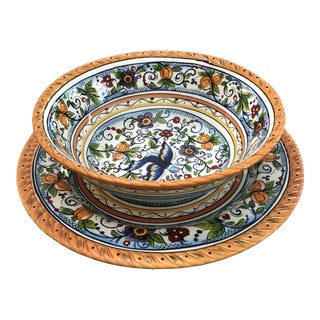 Handpainted Serve Bowl and Platter by Dario Farrucci of Villa Paradiso-Set of 2 For Sale