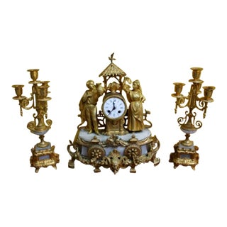 1900 Metal, Calamine and Marble Clock & Candelabras - Set of 3 For Sale