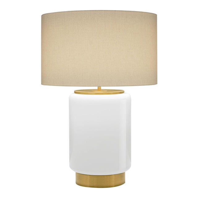 Art Deco Style Milk Coloured Lamp With Shade For Sale
