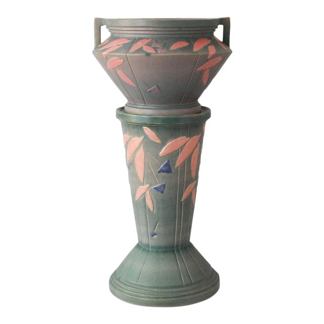 1920s Shabby Chic Roseville Pottery Futura Jardeniere and Pedestal For Sale