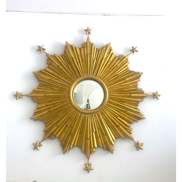 Exquisite Starburst Mirror With Antique Gold Leaf Finish For Sale - Image 13 of 13