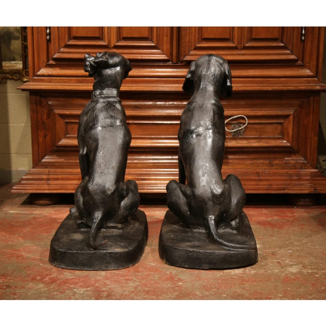 Pair of Lifesize French Iron Hunting Labradors Retrievers after Jacquemart For Sale - Image 9 of 10