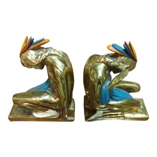Antique Kneeling Native American Figure Bookends - A Pair