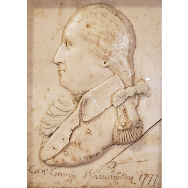 "George Washington Related. General George Washington Wax Portrait Shadow Box Framed Display & Artist Signed ""G. Rouse"". G...."