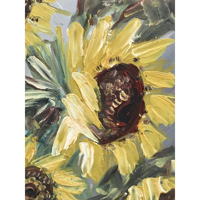 Mid-Century Impressionist Painting of Sunflowers For Sale In West Palm - Image 6 of 10