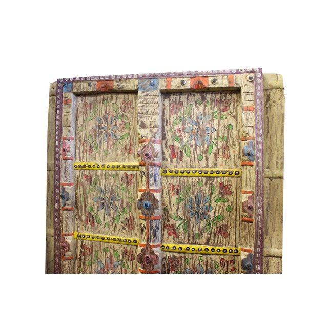 Early 18th Century Antique Door Floral Hand Painted Rustic Door For Sale - Image 4 of 5