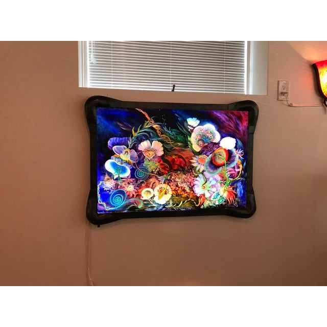 "Contemporary Signed Original Ulla Darni Illuminating Flat Glass Painting ""Han and Hanini"" For Sale - Image 3 of 11"