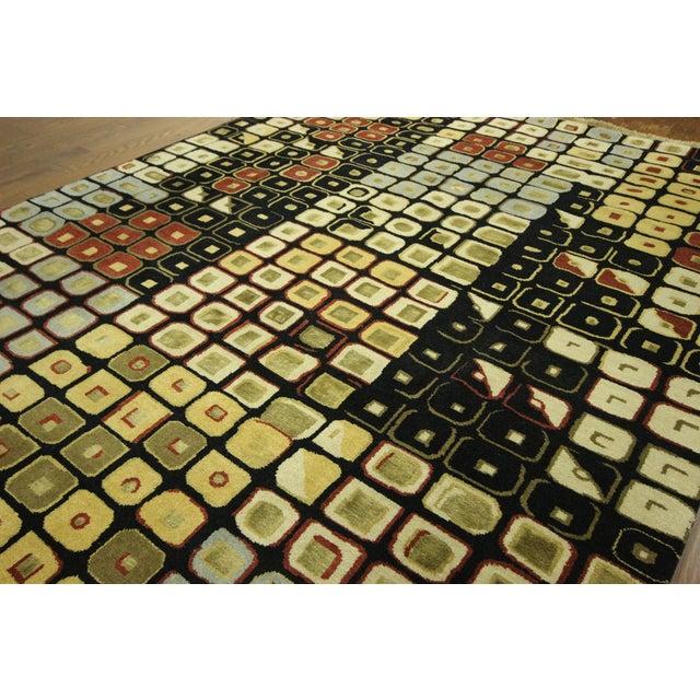 New Black Modern Wool & Silk Ikat Rug - 8'x10' - Image 5 of 10
