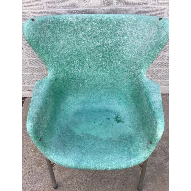 Mid Century Modern Fiberglass Aqua Green Chair With Chrome Legs For Sale - Image 12 of 13