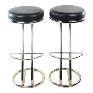 Italian Mid-Century Modern Round Seat Black Leather Barstools With Chrome Base - a Pair