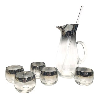 1960s Vintage Silver Fade Ombre Lusterware Cocktail Pitcher and Roly Poly Glasses - 6 Pc. Set