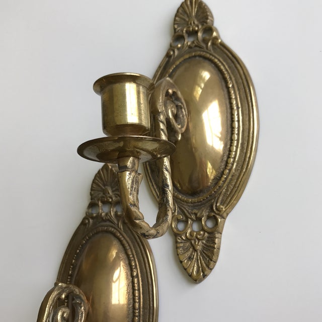 Vintage Brass Wall Sconces - A Pair - Image 5 of 7
