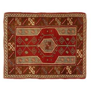 "Traditional Turkish Wool Anatolian Rug - 4'4"" X 5'6"" For Sale"