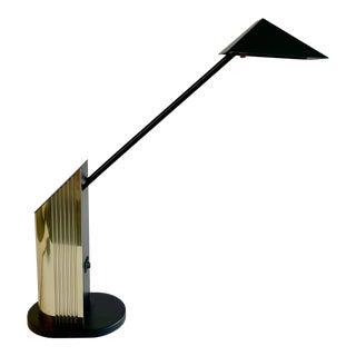 Gold & Black 1980's Postmodern Desk Lamp For Sale
