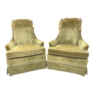 Hollywood Regency Green Crushed Velvet Chairs - A Pair