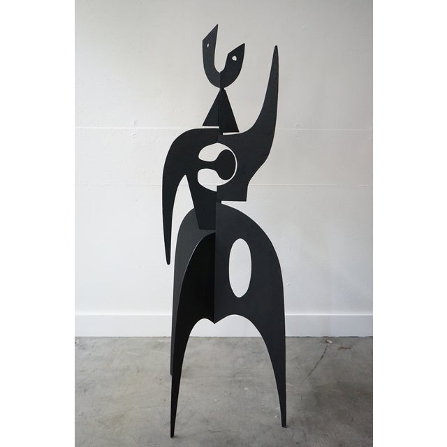 This is an intriguing contemporary abstract figural iron sculpture by French artist Antonine de Saint Pierre.