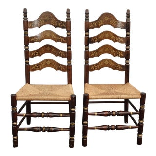 Pair of Vintage French Country Rush Ladderback Chairs W Floral Painted Backrests For Sale