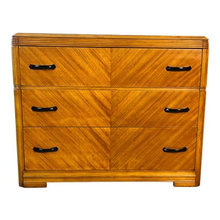 Art Deco Matchbook Veneer Low Dresser For Sale