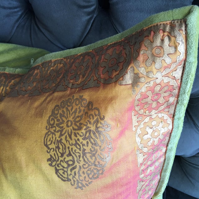 Copper & Gold Lamé Silk Pillow Covers - A Pair - Image 3 of 4