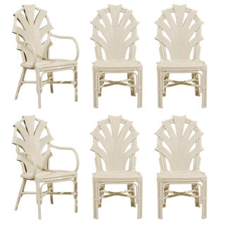 Exceptional Set of Six Vintage Rattan Dining Chairs in Cream Lacquer For Sale