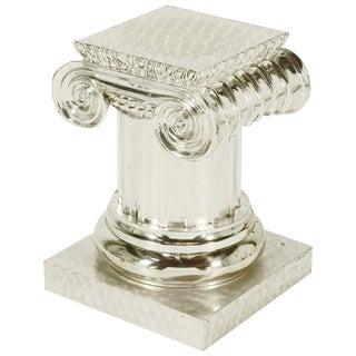 Engine Turned Silver Wash Ionic Column Pedestal For Sale