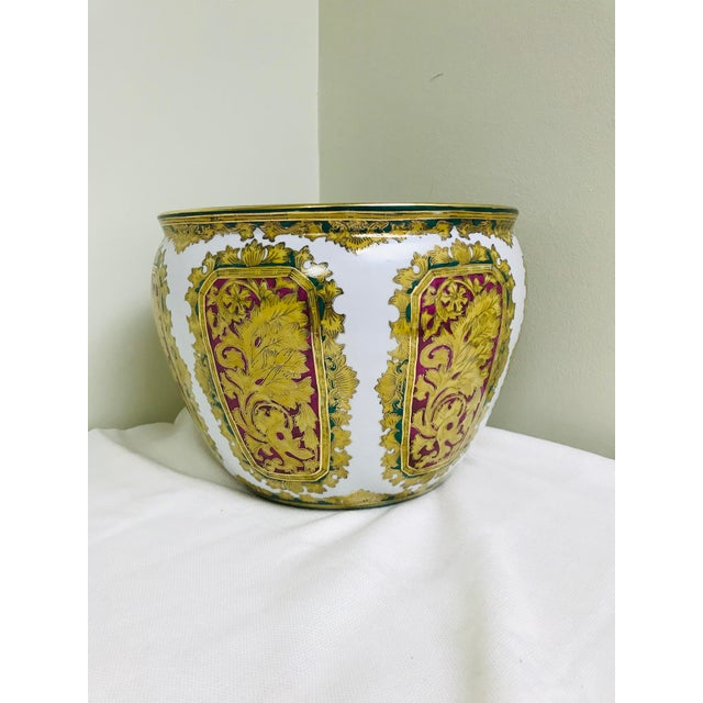 Asian Vintage Andrea by Sadek Chinoiserie Fish Bowl Ceramic Floor Planter Cachepot For Sale - Image 3 of 11