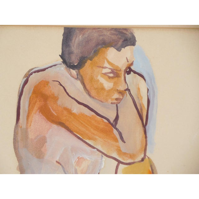 1965 Vintage Nude Watercolor on Paper Painting - Image 6 of 7
