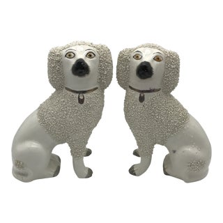 Antique Staffordshire Confetti Poodle Dog Figurines - a Pair For Sale