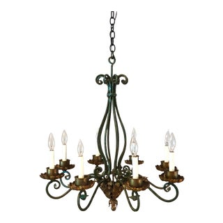 Late 20th Century Vintage Wrought Iron 8-Light Chandelier For Sale