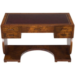 1960s Vintage Art Deco Style Leather Top Writing Desk For Sale