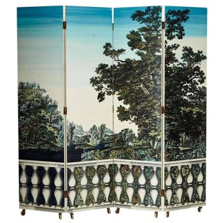 "Folding Screen ""Bosco Con Balaustra-Libri"" by Piero Fornasetti For Sale"